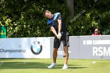 Teddy Sheringham teeing off during the Celebrity Pro-Am day at Wentworth Club, Virginia Water. Picture by Phil Duncan