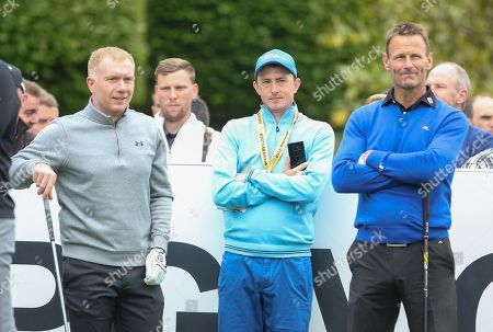 Paul Scholes   and Teddy Sheringham on the 1st hole during the Celebrity Pro-Am day at Wentworth Club, Virginia Water. Picture by Phil Duncan