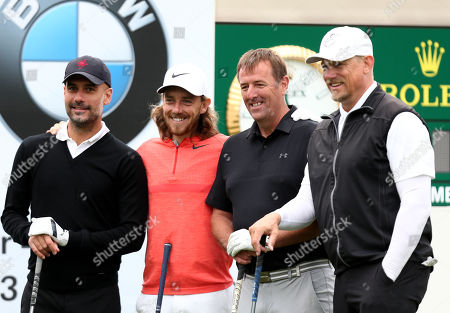 Manchester City Manager Pep Guardiola with playing partners Tommy Fleetwood, Matt Le Tissier and Peter Schmeichel.