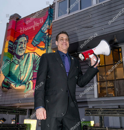 Stock Photo of Stuart Milk and Stoli Vodka unveil a mural celebrating the LGBTQ icon on Harvey Milk Day at The Café in San Francisco on