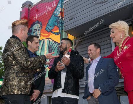 Stoli Vodka and Stuart Milk present mural artist Oz Montania with a limited edition Stoli Harvey Milk bottle, in San Francisco