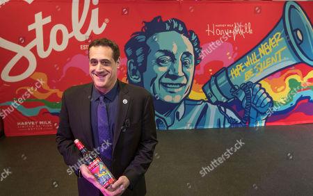 Stock Picture of Stuart Milk unveils the Stoli Vodka Harvey Milk limited edition bottle on Harvey Milk Day at The Café in San Francisco on