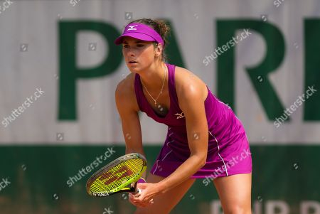 Bibiane Schoofs of the Netherlands in action during qualifications for the 2018 Roland Garros Grand Slam tennis tournament