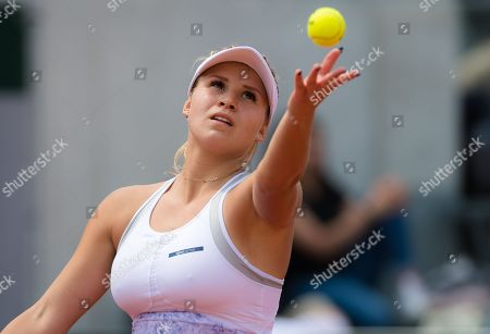 Jana Fett of Croatia in action during qualifications for the 2018 Roland Garros Grand Slam tennis tournament
