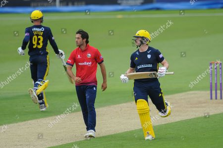 Jimmy Adams of Hampshire hits the winning run off the bowling of Shane Snater of Essex during the Royal London One Day Cup match between Hampshire County Cricket Club and Essex County Cricket Club at the Ageas Bowl, Southampton. Picture by Dave Vokes