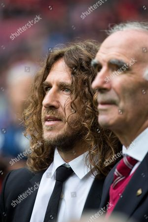 Stock Image of Carlos Puyol receives the One Club Man Award during the Santander League (La Liga) match played in San Mames Stadium between Athletic Club and Real Betis in Bilbao