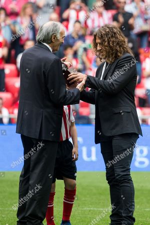 Stock Picture of Carlos Puyol receives the One Club Man Award during the Santander League (La Liga) match played in San Mames Stadium between Athletic Club and Real Betis in Bilbao