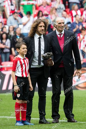 Carlos Puyol receives the One Club Man Award during the Santander League (La Liga) match played in San Mames Stadium between Athletic Club and Real Betis in Bilbao