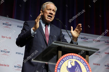 Former New York Gov. George Pataki delivers his remarks during the New York state Republican Convention, in New York, . Democratic and Republican nominees for governor, lieutenant governor and attorney general will be picked Wednesday as the two major parties hold their conventions