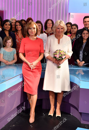 Camilla Duchess of Cornwall poses with members of the 5 News team, including journalist Sian Williams and members of the crew as she visits the headquarters of Independent Television News Ltd (ITN) to mark the 21st anniversary of 5 News