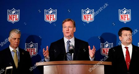 Roger Goodell, Art Rooney II, Michael Bidwill. NFL commissioner Roger Goodell, center, is flanked by Pittsburgh Steelers president Art Rooney II, left, and Arizona Cardinals owner Michael Bidwill during a news conference where he announced that NFL team owners have reached agreement on a new league policy that requires players to stand for the national anthem or remain in the locker room, during the NFL owner's spring meeting, in Atlanta