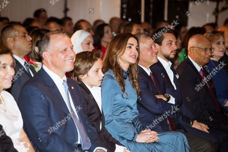 Their Majesties King Abdullah II, Queen Rania and Their Royal Highnesses Crown Prince Al Hussein and Prince Hashem and Prince Faisal at Her Royal Highness Princess Salma?s graduation ceremony from The International Academy- Amman  Amman, Jordan  22 May 2018