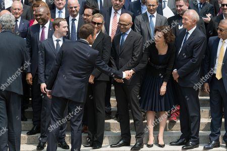 Mark Zuckerberg, Emmanuel Macron, Audrey Azoulay and Jean-Paul Agon