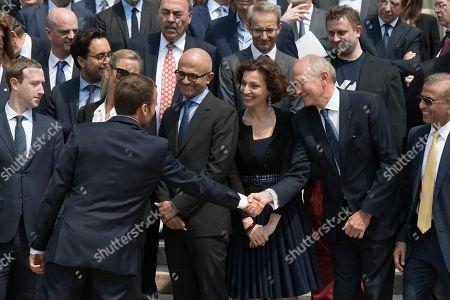 Mark Zuckerberg, Emmanuel Macron, a guest, Audrey Azoulay and Jean-Paul Agon