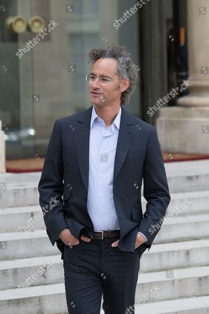 """Alex Karp (Palantir Technologie) leaves Elysee Palace after the """"Tech for Good"""" Summit"""