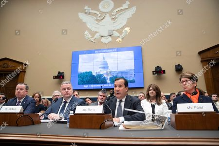 Tim Hinchey, Steve McNally, Jamie Davis, Shellie Pfohl. From left, USA Swimming President and CEO Tim Hinchey, USA Taekwondo CEO Steve McNally, USA Volleyball CEO Jamie Davis, and U.S. Center for SafeSport President and CEO Shellie Pfohl, join other witnesses to testify before the House Commerce Oversight and Investigations Subcommittee about the Olympic community's ability to protect athletes from sexual abuse, on Capitol Hill in Washington