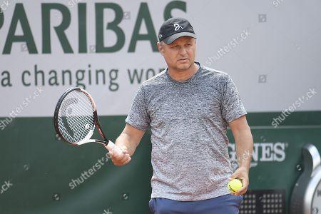Marian Vajda (Novak Djokovic's coach) during a training session