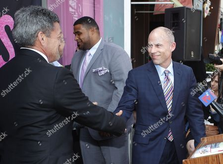 Stock Image of Michael Avenatti shakes hands with West Hollywood Mayor John Duran