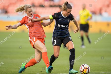 Seattle Reign FC defender Lauren Barnes (3) controls the ball in front of Houston Dash forward Kealia Ohai (7) during a NWSL soccer match between the Houston Dash and the Seattle Reign at BBVA Compass Stadium in Houston, TX. The Dash won 2 to 1