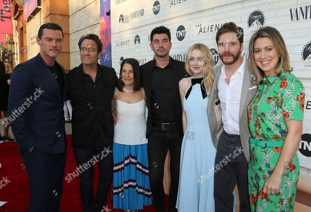 "Luke Evans, Michael Kaplan, Rosalie Swedlin, Jakob Verbruggen, Dakota Fanning, Daniel Bruhl, Mara Lepere-Schloop. Luke Evans, from left, Michael Kaplan, Rosalie Swedlin, Jakob Verbruggen, Dakota Fanning, Daniel Bruhl and Mara Lepere-Schloop pose at the ""The Alienist"" FYC Event at the Wallis Annenberg Center for the Performing Arts, in Beverly Hills, Calif"