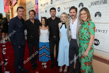 "Luke Evans, Michael Kaplan, Rosalie Swedlin, Jakob Verbruggen, Dakota Fanning, Daniel Bruhl, Mara Lapere-Schloop. Luke Evans, from left, Michael Kaplan, Rosalie Swedlin, Jakob Verbruggen, Dakota Fanning, Daniel Bruhl and Mara Lapere-Schloop pose at the ""The Alienist"" FYC Event at the Wallis Annenberg Center for the Performing Arts, in Beverly Hills, Calif"