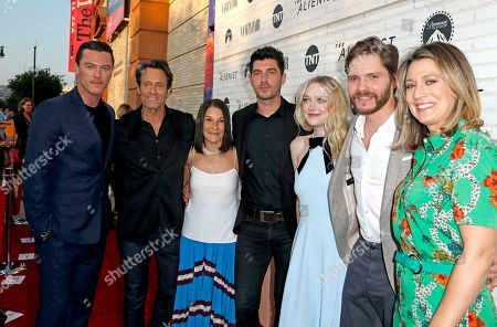 Stock Photo of Luke Evans, Michael Kaplan, Rosalie Swedlin, Jakob Verbruggen, Dakota Fanning, Daniel Bruhl and Mara LePere-Schloop