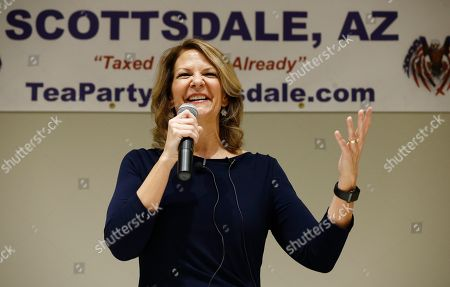 Republican Senate candidate Kelli Ward talks about her platform policies at a Scottsdale Tea Party event in Scottsdale, Ariz. Arizona conservatives are torn between two icons of their movement - former Sheriff Joe Arpaio and former state senator Ward - in the GOP Senate primary