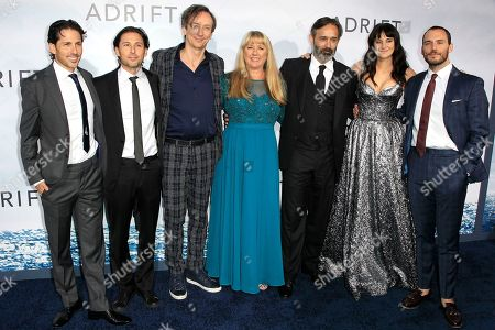 Stock Picture of (L-R) Aaron Kandell, Co-Writer-Producer, Jordan Kandell, Co-Writer-Producer, Volker Bertelmann, Composer, Tami Oldham Ashcraft, Author, Baltasar Kormakur, Director-Producer, Shailene Woodley, and Sam Claflin pose at the World Premiere of 'Adrift' at the L.A. LIVE Regal Cinemas in Los Angeles, California, USA, 23 March 2018. The film opens in the US 01 June 2018.