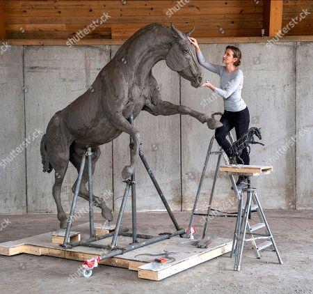 Editorial image of Sculpture honoring Cleveland Bay stallion war horses, UK - 03 May 2018