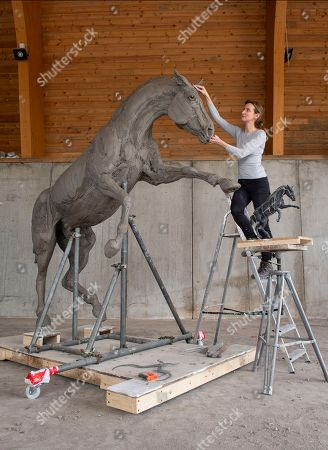 Editorial picture of Sculpture honoring Cleveland Bay stallion war horses, UK - 03 May 2018