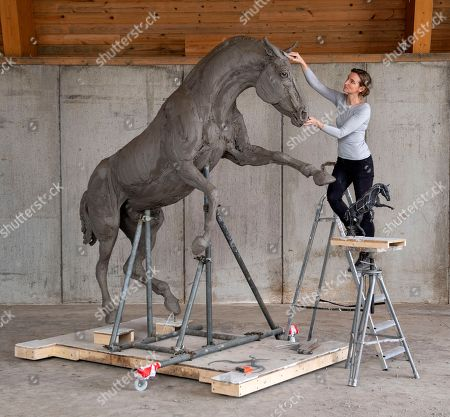Stock Photo of Amy Goodman creating the Cleveland Bay stallion sculpture