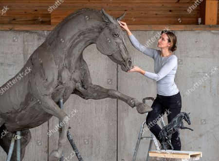 Editorial photo of Sculpture honoring Cleveland Bay stallion war horses, UK - 03 May 2018