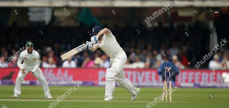 England's Jonathan Bairstow is bowled by Pakistan's Faheem Ashraf during the first day of play of the first test cricket match between England and Pakistan at Lord's cricket ground in London