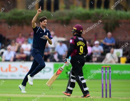 Steve Finn celebrates the wicket of Johann Myburgh of Somerset