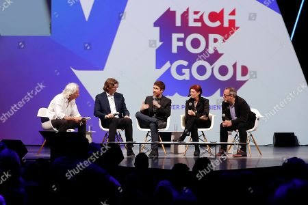(2nd L-R) Atomic Founder and CEO Niklas Zennstrom, Center for Humane Technology Founder Tristan Harris, Mozilla.org chairwoman Mitchell Baker and Wikipedia and Wikitribune Founder Jimmy Wales participate to a talk on 'Tech for Good' during the VivaTech fair in Paris, France, 24 May 2018.  The annual commercial convention runs from the 24 to 26 May.