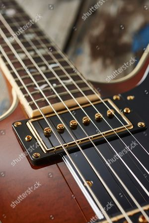 Detail Of The Gibson Usa P-94 Single Coil Pickup On An Epiphone Ltd Edition Lee Malia Explorer Custom Artisan Outfit Electric Guitar