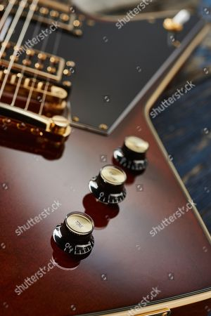 Detail Of The Control Knobs On An Epiphone Ltd Edition Lee Malia Explorer Custom Artisan Outfit Electric Guitar