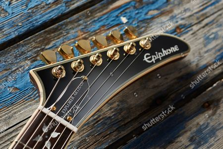 Detail Of The Headstock On An Epiphone Ltd Edition Lee Malia Explorer Custom Artisan Outfit Electric Guitar