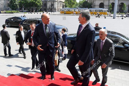 President of the Austrian National Council, the first chamber of the country's Parliament Wolfgang Sobotka (L) is greeted by Speaker of the Hungarian Parliament Laszlo Kover (R) in front of the entrance of the Parliament building in Budapest, Hungary, 24 May 2018.