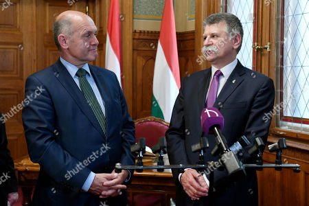 President of the Austrian National Council, the first chamber of the country's Parliament Wolfgang Sobotka (L) and the Speaker of the Hungarian Parliament Laszlo Kover (R) before their talks in the Parliament building in Budapest, Hungary, 24 May 2018.