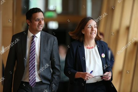 Scottish Parliament First Minister's Questions - Anas Sarwar and Kezia Dugdale make their way to the Debating Chamber.