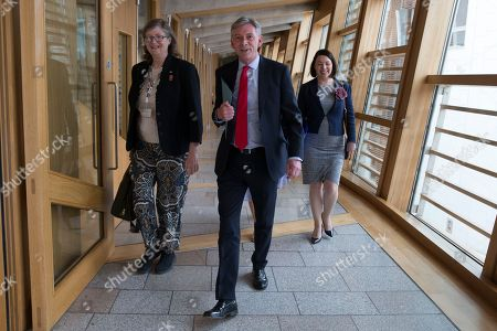 Scottish Parliament First Minister's Questions - Claudia Beamish, Richard Leonard, Leader of the Scottish Labour Party, and Monica Lennon make their way to the Debating Chamber.