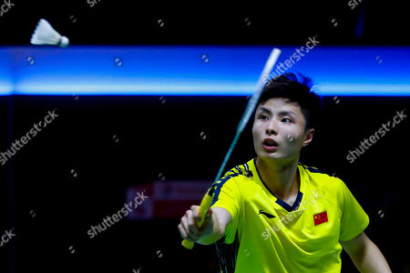 Stock Image of Shi Yu Qi of China in action against Wang Tzu Wei of Chinese Taipei during their Thomas Cup quarterfinal match at the Thomas and Uber Cup 2018 in Bangkok, Thailand, 24 May 2018.