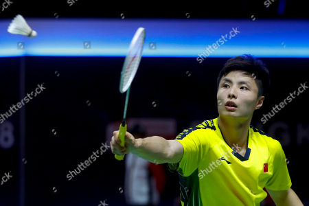Stock Photo of Shi Yu Qi of China in action against Wang Tzu Wei of Chinese Taipei during their Thomas Cup quarterfinal match at the Thomas and Uber Cup 2018 in Bangkok, Thailand, 24 May 2018.