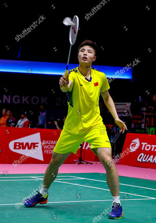 Shi Yu Qi of China in action against Wang Tzu Wei of Chinese Taipei during their Thomas Cup quarterfinal match at the Thomas and Uber Cup 2018 in Bangkok, Thailand, 24 May 2018.