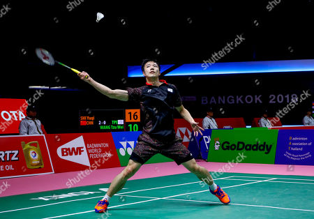 Wang Tzu Wei of Chinese Taipei in action against Shi Yu Qi of China during their Thomas Cup quarterfinal match at the Thomas and Uber Cup 2018 in Bangkok, Thailand, 24 May 2018.