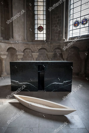 Baldwin & Guggisberg's sculpture 'The Stone Boat, 2018' is displayed in St Anselm's Chapel at Canterbury Cathedral. A series of glass installations by artists Philip Baldwin and Monica Guggisberg reflecting on themes of war and remembrance, migration and refugees are going on display at the cathedral commemorating the 100th anniversary of the end of the First World War.