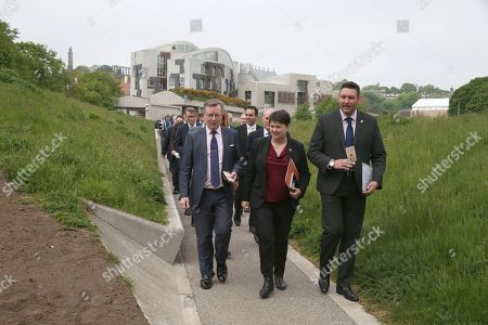 Editorial image of Planting of Holyrood poppy tribute, The Scottish Parliament, Edinburgh, Scotland, UK - 24th May 2018