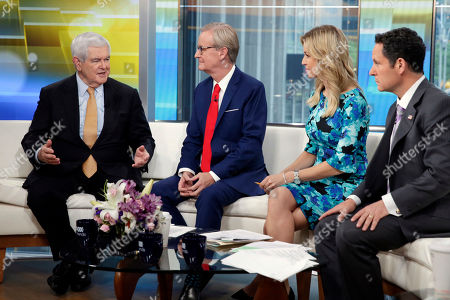 "Steve Doocy, Ainsley Earhardt, Brian Kilmeade, Newt Gingrich. Former Speaker of the House Newt Gingrich, left, is interviewed on the ""Fox & Friends"" television program by co-hosts Steve Doocy, second from left, Ainsley Earhardt and Brian Kilmeade, right, in New York on"