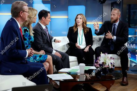 "Steve Doocy, Ainsley Earhardt, Brian Kilmeade, Ronna McDaniel, Brad Parscale. Chair of the Republican National Committee Ronna McDaniel, second from right, and Brad Parscale, right, campaign manager for President Donald Trump's 2020 reelection, are interviewed on the ""Fox & Friends"" television program in New York on . Program hosts are, from left, Steve Doocy, Ainsley Earhardt, Brian Kilmeade"